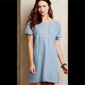 Anthropologie Embroidered Denim dress w/pockets!